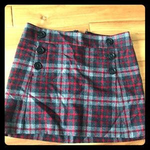 Gap wool plaid mini skirt